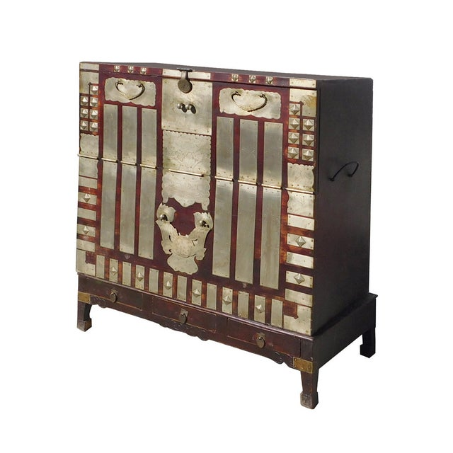 Asian Antique Vintage Korean Style Silver Hardware Trunk Cabinet For Sale - Image 3 of 7