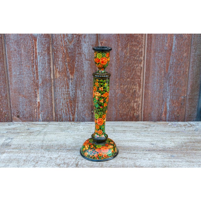 Mid 20th Century Black Floral Kashmiri Candle Holder For Sale - Image 5 of 6
