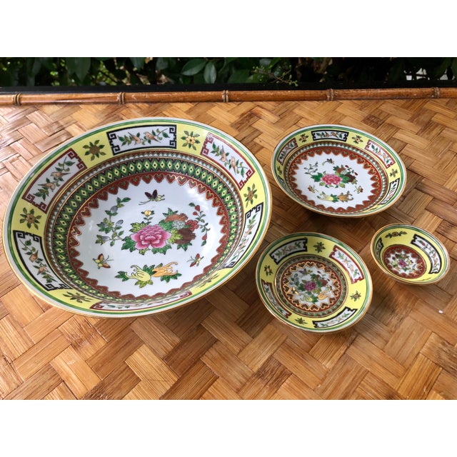 Chinese Famille Jaune Yellow Painted Floral Bowls - Set of 4 For Sale - Image 4 of 10