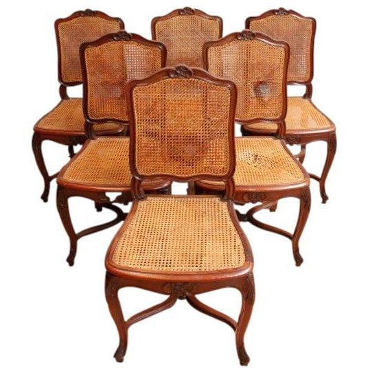 Vintage Louis XV Rococo Dining Chairs - Set of 6 - Image 1 of 7