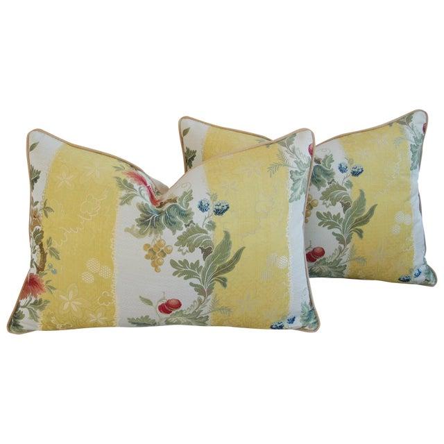 Custom Scalamandre Silk Lampas Pillows - Pair - Image 1 of 11