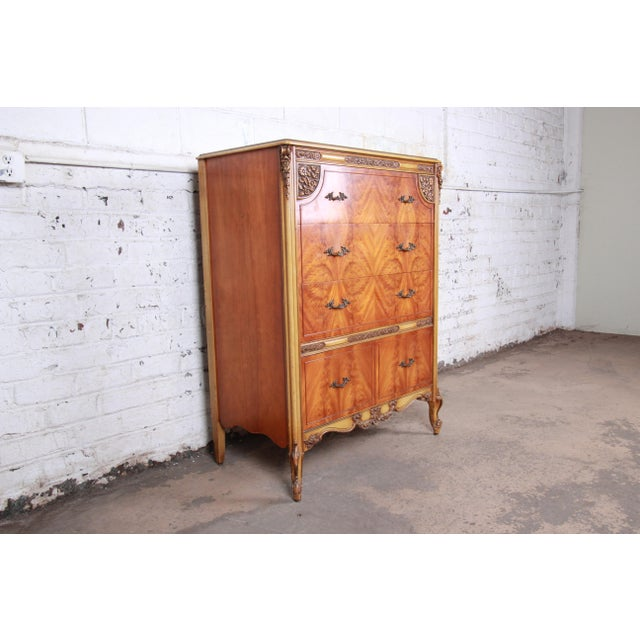 French Romweber French Provincial Louis XV Burled Mahogany Highboy Dresser For Sale - Image 3 of 13