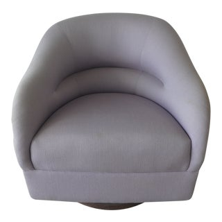 1970s Mid-Century Modern Fat Comfy Brickell Associates Ward Bennett Swivel Club Chair For Sale
