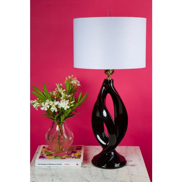 Mid-Century Modern Vintage Art Deco Black Ceramic Atomic Lamp For Sale - Image 3 of 11