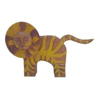 Vintage Art Hand Carved Wood Decorative Lion Statue By Johni