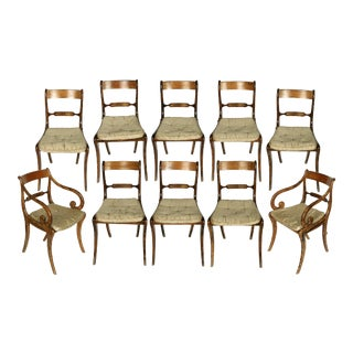 Suite of Regency Grain-Painted Dining Chairs - Set of 10 For Sale