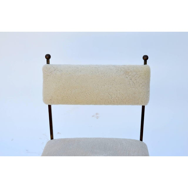 1940s Exceptional Wrought Iron and Sheepskin Side Chair by Gilbert Poillerat For Sale - Image 5 of 10