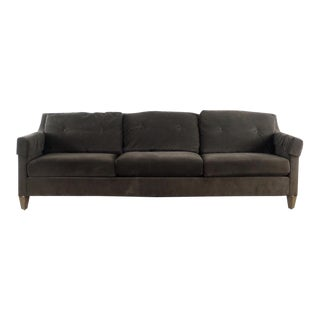 Modern Ethan Allen Contemporary Brown Upholstered Three Cushion Sofa For Sale