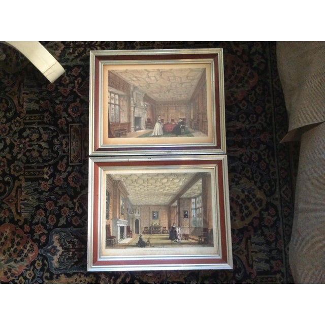 Red Antique British Castle Rooms Lithograph Prints - a Pair For Sale - Image 8 of 8