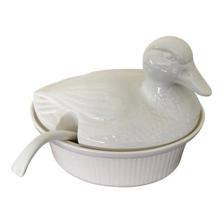 Vintage California Usa Ceramic Duck Soup Tureen For Sale