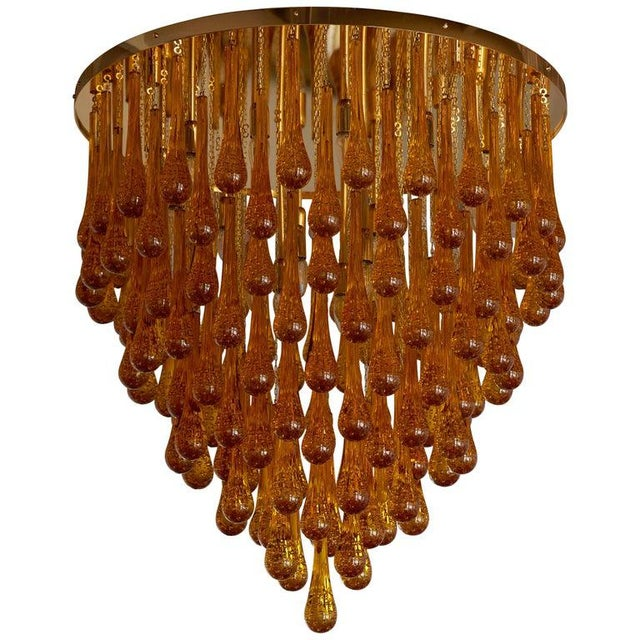 Monumental Brass and Murano Glass Tear Drop Flush Mount Attr. To Barovier & Toso For Sale - Image 13 of 13