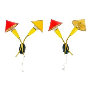 1950s Mid-Century Modern Red and Yellow Sputnik Wall Lamps, Germany - a Pair For Sale