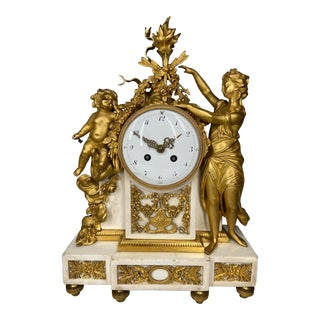 Antique French Louis XVI Gilded Bronze Mantel Clock/ Pendulum Ca.1780 For Sale
