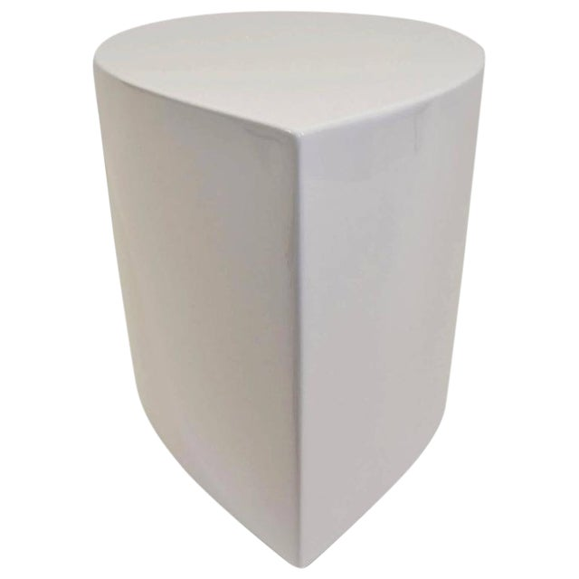 White Lacquer Teardrop Side Table, Karl Springer Style - Image 1 of 6