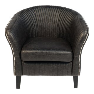1970s Belmont Black Leather Club Chair