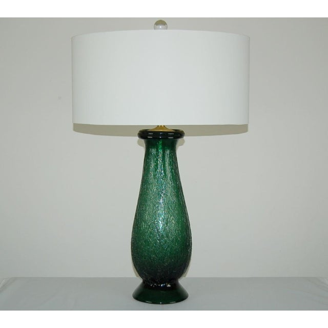 Hollywood Regency Vintage Murano Glass Table Lamps Green For Sale - Image 3 of 9