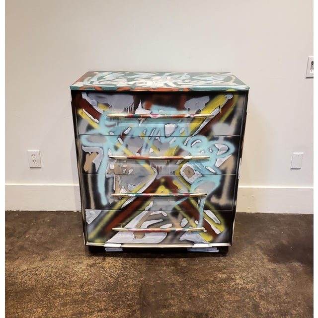 Postmodern Graffitied Artist Painted Chest of Drawers For Sale - Image 3 of 10