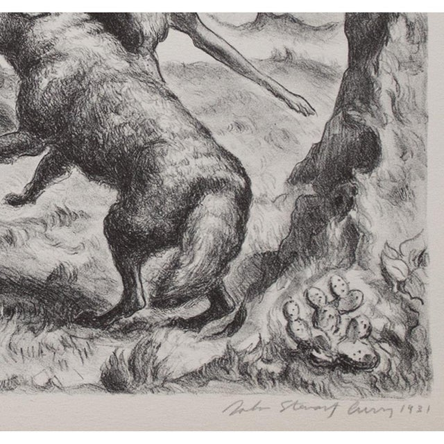 "1930s 1939 John Steuart Curry, Original Period ""Hounds and Coyote"" Photogravure For Sale - Image 5 of 9"