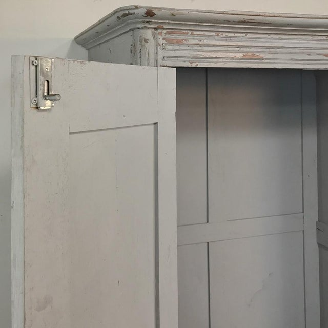 Early 20th Century Pair Antique Painted Wooden Locker Cabinets For Sale - Image 5 of 13