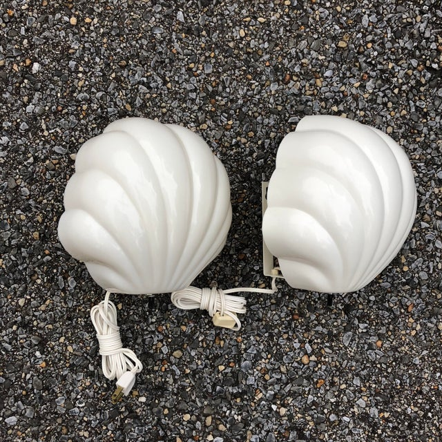 """Vintage pair clam scalloped shell wall light retro Art Deco sconces Each one measures 8"""" tall (9"""" if you include switch)x..."""