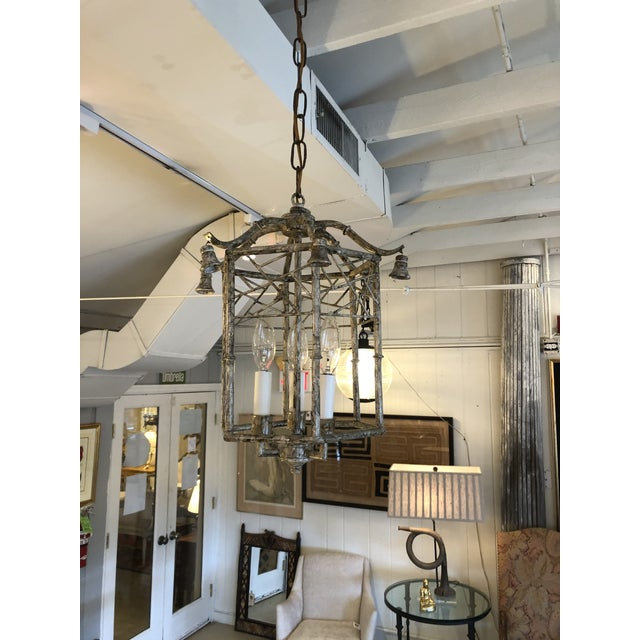 Metal Pagoda Style Iron & Tole Lantern Pendant Chandelier For Sale - Image 7 of 9