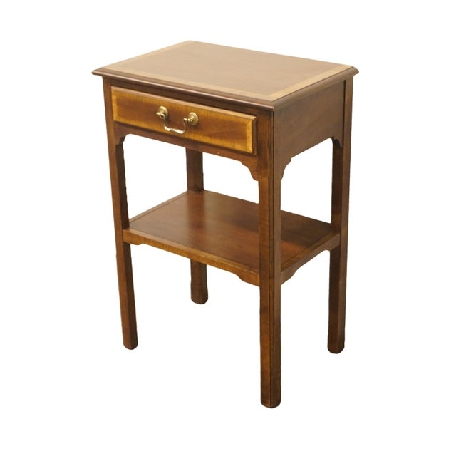 """Sherrill furniture banded mahogany traditional style 18"""" nightstand/accent table. We specialize in high end used furniture..."""