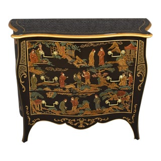 1970s Vintage Drexel Asian Black Serpentine Chinoiserie Commode For Sale