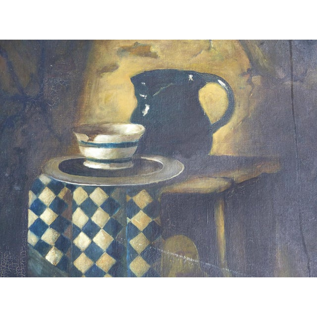 English Traditional Dutch Style Still-Life Oil Painting on Linen For Sale - Image 3 of 10