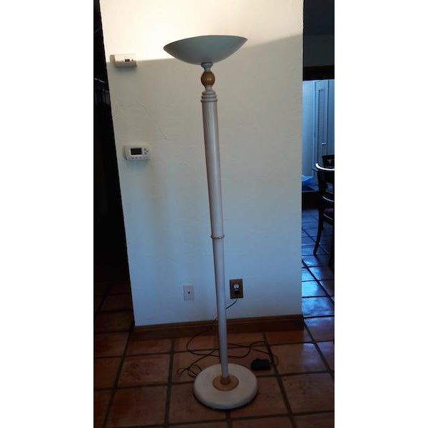 Grange French Country Floor Lamp Off White body with a white top and white base.