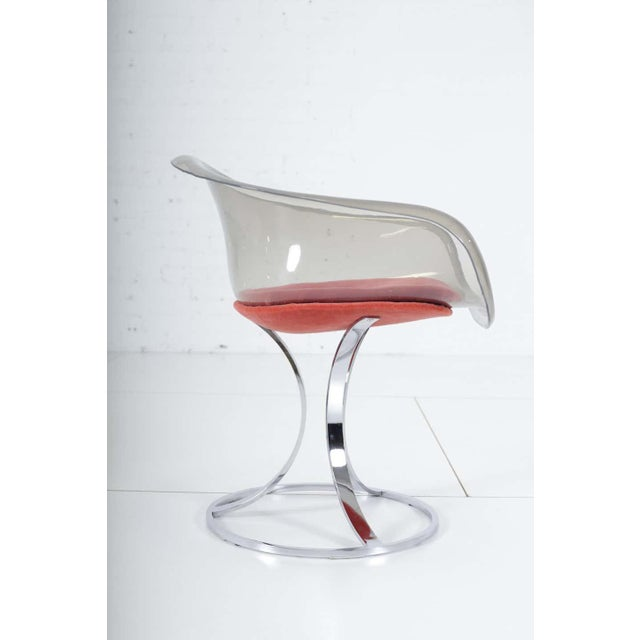Mid-Century Modern Peter Hoyte Acrylic Tulip Chair on Chrome Base For Sale - Image 3 of 7
