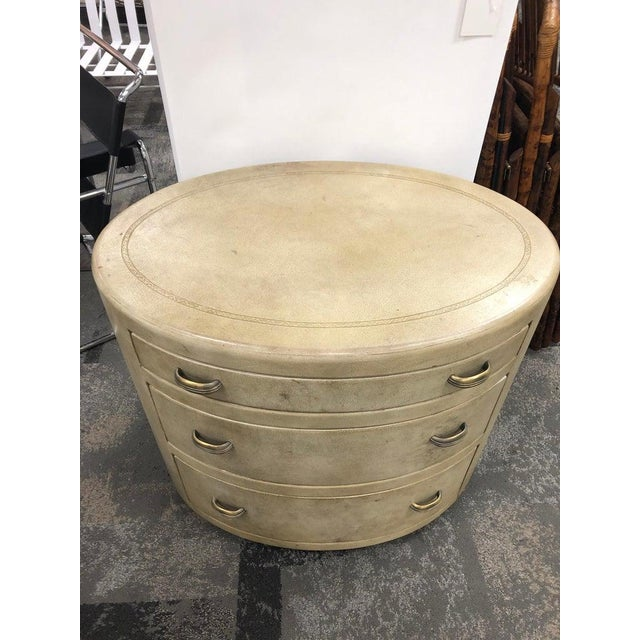 Italian Mid-Century Italian Oval Leather Dresser For Sale - Image 3 of 7