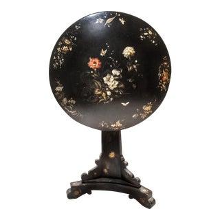 19th Century Antique Jennens & Bettridge Hand-Painted British Tilt-Top Lacquered Table