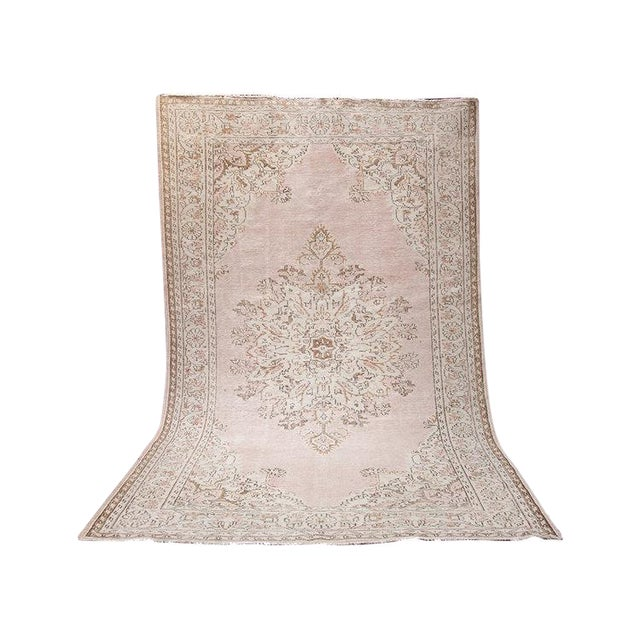 "Blush Pink Turkish Overdyed Rug - 6'6"" X 10'3"""