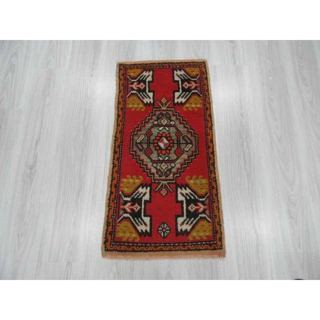 Islamic Vintage Handknotted Turkish Rug - 1′8″ × 3′3″ For Sale - Image 3 of 4