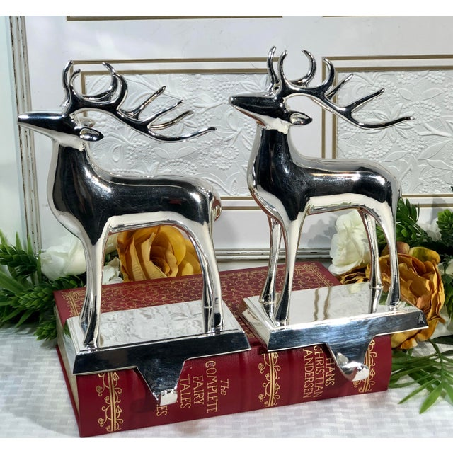 Vintage Solid Reindeer Stocking Hooks Silver Plated Pair For Sale In Phoenix - Image 6 of 10