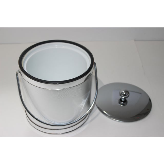 Silver Vintage Ice Bucket Polished Stainless Steel and Mylar For Sale - Image 8 of 12