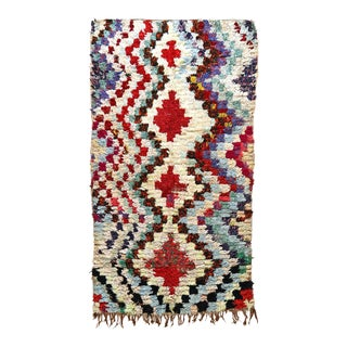 1990s Moroccan Boucherouite Rug - 3′4″ × 6′ For Sale