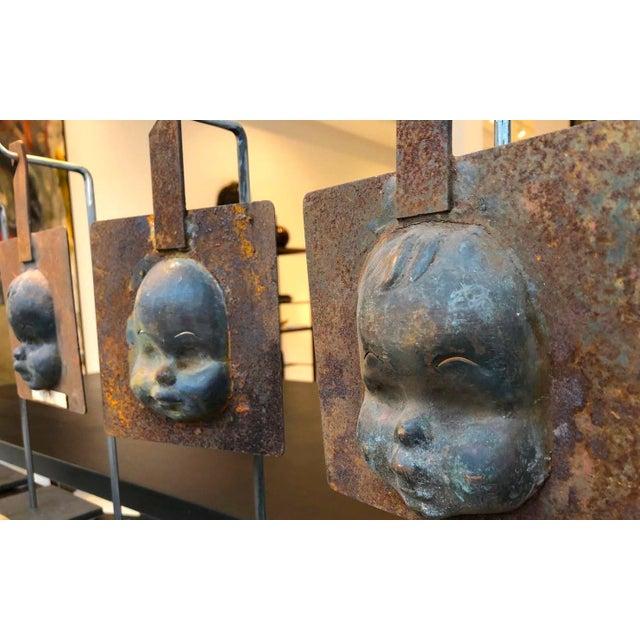1940s Decorative Metal Doll Head Molds Objet de Virtu on Custom Stands For Sale - Image 5 of 6