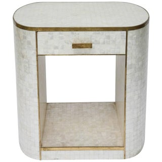 Single Drawer Capiz Shell and Antiqued-Brass Cabinet by Platt Collections For Sale
