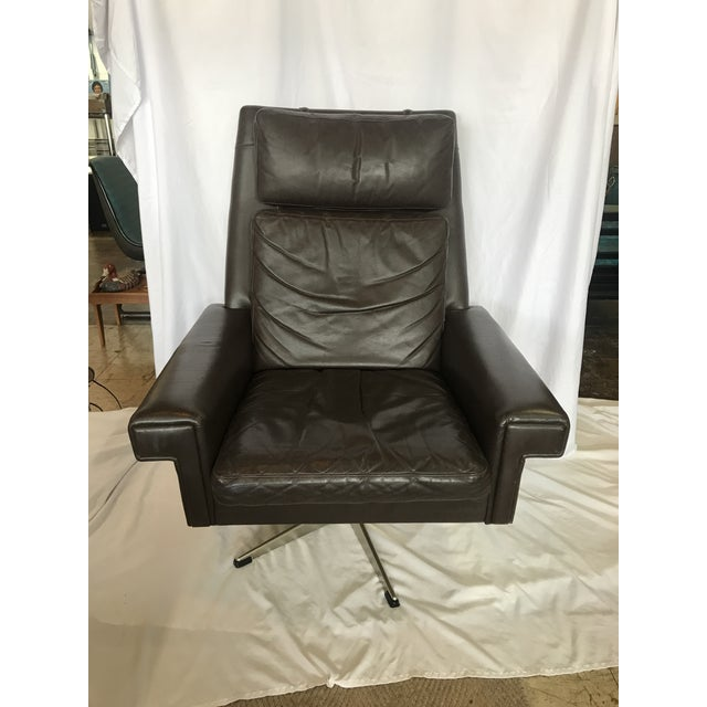 Metal Vintage Mid Century Leather Swivel Chair For Sale - Image 7 of 7
