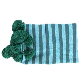 Blue Green Pompom Throw For Sale