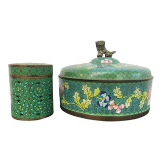 Chinese Enameled Boxes - a Pair For Sale