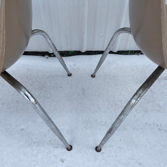 Brown Pair Mid-Century Eames Style Shell Chairs For Sale - Image 8 of 13