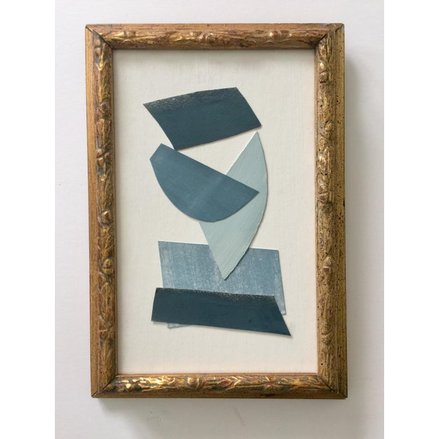 Abstract Blue and White Collage Vintage Frame For Sale - Image 3 of 3