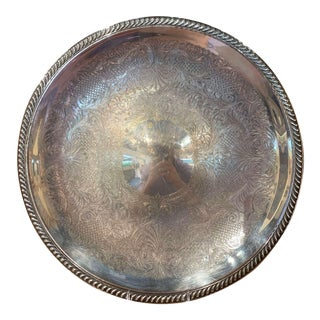 Early 20th Century Silver Plated Over Brass Tray With Engraved Decor For Sale