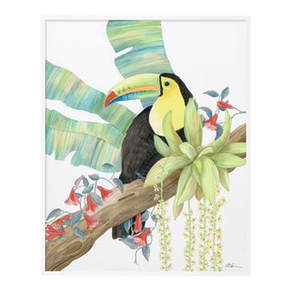 Toucan Play at That Game by Allison Cosmos in White Framed Paper, XS Art Print For Sale