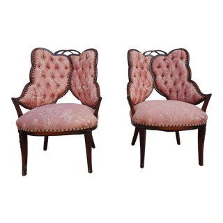 Italian Hollywood Regency Sculptural Wingback Chair - a Pair
