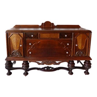 1920s Art Deco Traditional Burled Walnut and Chestnut Sideboard With Glass Knobs For Sale