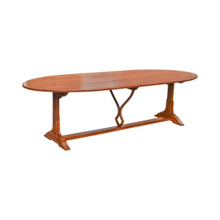 """Custom Crafted 108"""" Cherry Wood Oval Farmhouse Dining Table For Sale"""