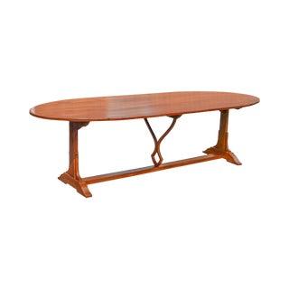 "Custom Crafted 108"" Cherry Wood Oval Farmhouse Dining Table"